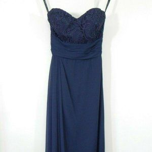 blue BILL LEVKOFF bridesmaid dress strapless 10